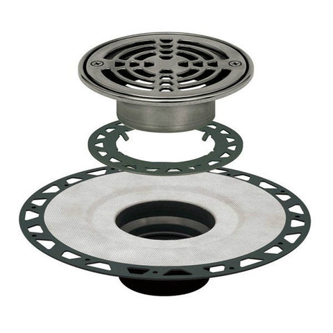 "KERDI-DRAIN Kit 6"" Round Stainless Steel Grate - ABS Flange with 2"" Drain Outlet"
