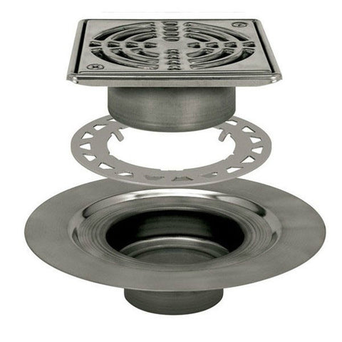 "Schluter Kerdi Drain Kit 6 Square Stainless Steel Grate - Stainless Steel Flange With 2"" Drain Outlet - American Fast Floors"