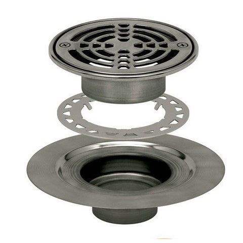 "Schluter Kerdi Drain Kit 6 Round Stainless Steel Grate - Stainless Steel Flange With 2"" Drain Outlet - Qty: 10 - American Fast Floors"
