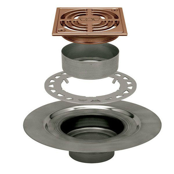 "Schluter Kerdi Drain Kit 4 Square Brushed Bronze Anodized Aluminum Grate - Stainless Steel Flange With 2"" Drain Outlet - Qty: 10 - American Fast Floors"
