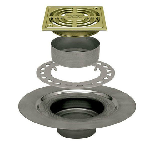 "Schluter Kerdi Drain Kit 4 Square Brushed Brass Anodized Aluminum Grate - Stainless Steel Flange With 2"" Drain Outlet - American Fast Floors"