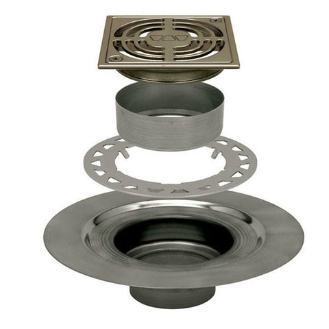 "Schluter Kerdi Drain Kit 4 Square Brushed Nickel Anodized Aluminum Grate - Stainless Steel Flange With 2"" Drain Outlet - Qty: 10 - American Fast Floors"