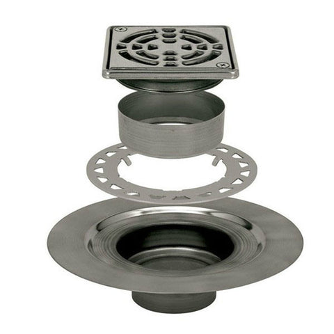"Schluter Kerdi Drain Kit 4 Square Stainless Steel Grate - Stainless Steel Flange With 2"" Drain Outlet - American Fast Floors"