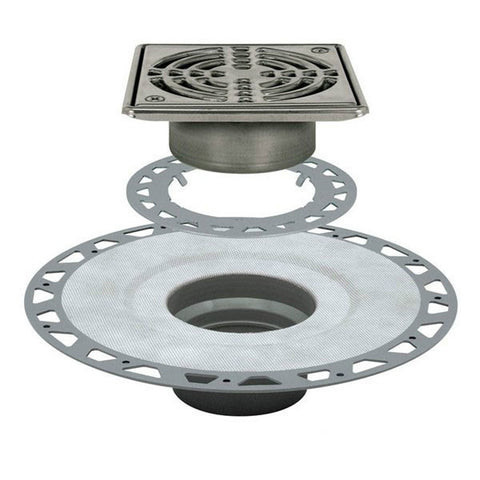 "Schluter Kerdi Drain Kit 6 Square Stainless Steel Grate - Pvc Flange With 2"" Drain Outlet - Qty: 10 - American Fast Floors"