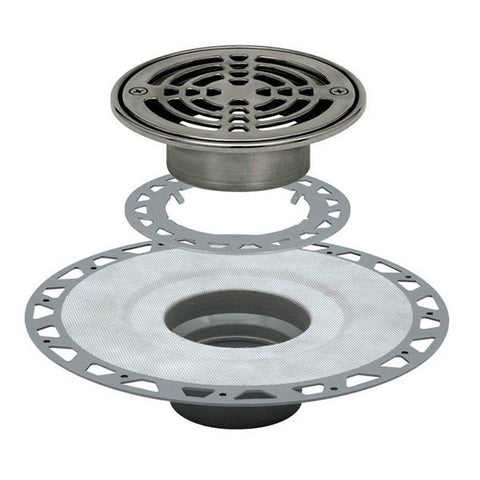 "Schluter Kerdi Drain Kit 6 Round Stainless Steel Grate - Pvc Flange With 2"" Drain Outlet - Qty: 10 - American Fast Floors"