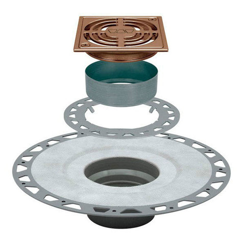 "Schluter Kerdi Drain Kit 4 Square Brushed Copper Anodized Aluminum Grate - Pvc Flange With 2"" Drain Outlet - American Fast Floors"