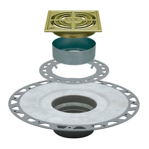 "KERDI-DRAIN Kit 4"" Square Brushed Brass Anodized Aluminum Grate - PVC Flange with 2"" Drain Outlet"