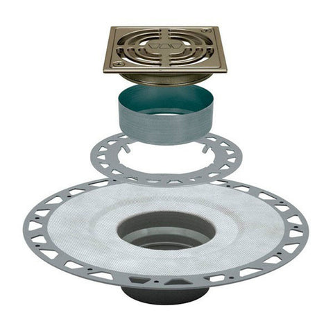 "KERDI-DRAIN Kit 4"" Square Brushed Nickel Anodized Aluminum Grate - PVC Flange with 2"" Drain Outlet"