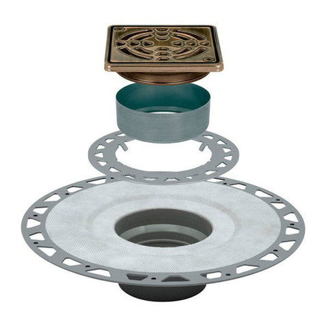 "KERDI-DRAIN Kit 4"" Square Oil Rubbed Bronze Steel Grate - PVC Flange with 2"" Drain Outlet"
