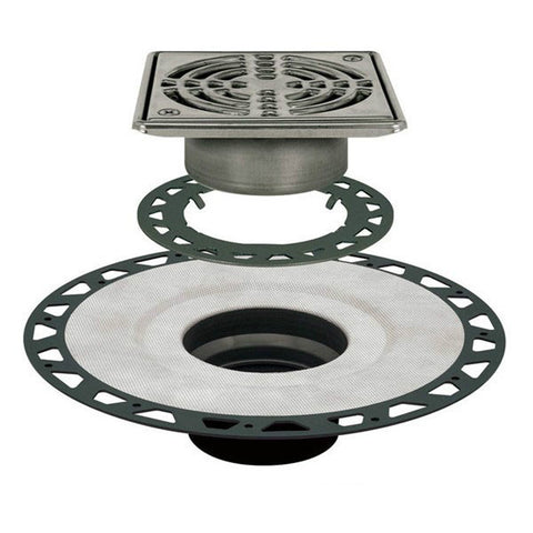 "KERDI-DRAIN Kit 6"" Square Stainless Steel Grate - ABS Flange with 3"" Drain Outlet"