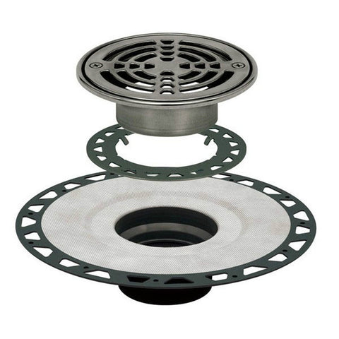 "Schluter Kerdi Drain Kit 6 Round Stainless Steel Grate - Abs Flange With 3"" Drain Outlet - Qty: 10 - American Fast Floors"
