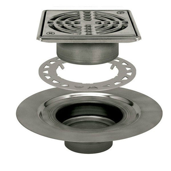 "Schluter Kerdi Drain Kit 6 Square Stainless Steel Grate - Stainless Steel Flange With 3"" Drain Outlet - American Fast Floors"