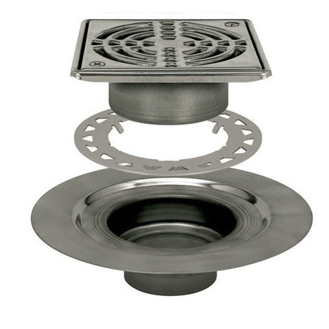 "KERDI-DRAIN Kit 6"" Square Stainless Steel Grate - Stainless Steel Flange with 3"" Drain Outlet"