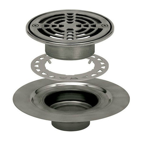 "Schluter Kerdi Drain Kit 6 Round Stainless Steel Grate - Stainless Steel Flange With 3"" Drain Outlet - Qty: 10 - American Fast Floors"