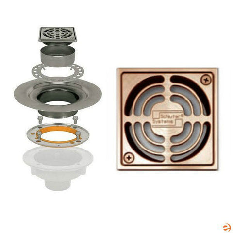 "Schluter Kerdi Drain Kit 4 Square Brushed Copper Grate - Stainless Steel Flange With 3"" Drain Outlet - Qty: 10 - American Fast Floors"