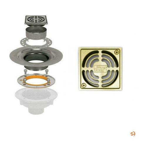 "Schluter Kerdi Drain Kit 4 Square Brushed Brass Grate - Stainless Steel Flange With 3"" Drain Outlet - Qty: 10 - American Fast Floors"