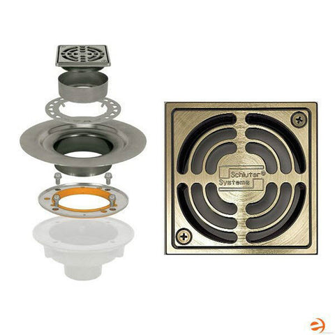 "Schluter Kerdi Drain Kit 4 Square Brushed Nickel Grate - Stainless Steel Flange With 3"" Drain Outlet - American Fast Floors"