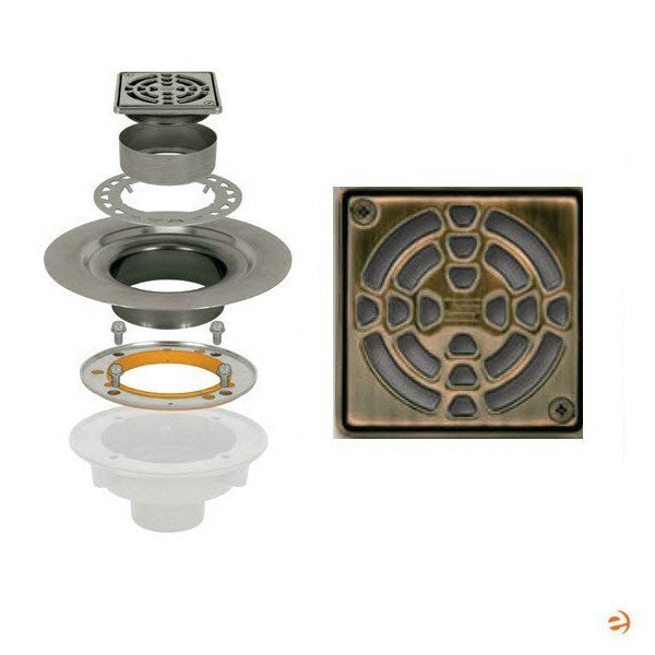 "Schluter Kerdi Drain Kit 4 Square Oil Rubbed Bronze Grate - Stainless Steel Flange With 3"" Drain Outlet - Qty: 10 - American Fast Floors"