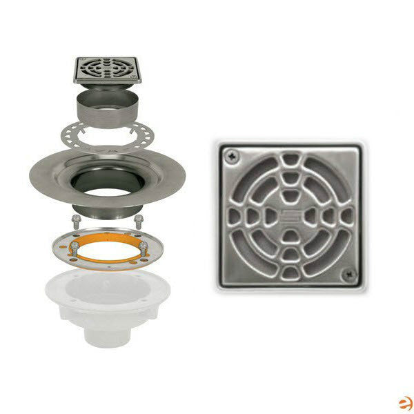 "Schluter Kerdi Drain Kit 4 Square Stainless Steel Grate - Stainless Steel Flange With 3"" Drain Outlet - Qty: 10 - American Fast Floors"