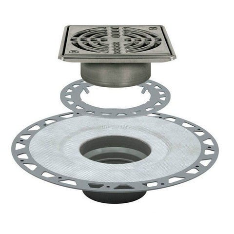 "KERDI-DRAIN Kit 6"" Square Stainless Steel Grate - PVC Flange with 3"" Drain Outlet"