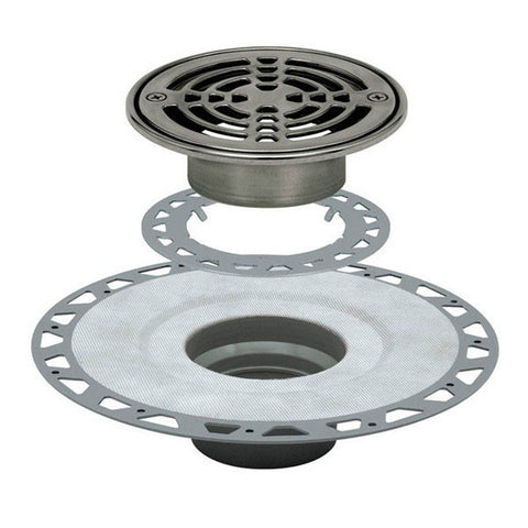 "Schluter Kerdi Drain Kit 6 Round Stainless Steel Grate - Pvc Flange With 3"" Drain Outlet - Qty: 10 - American Fast Floors"