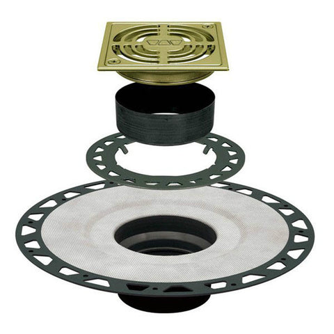 "KERDI-DRAIN Adaptor Kit 4"" Square Brushed Brass Anodized Aluminum Grate - Extended ABS Flange"