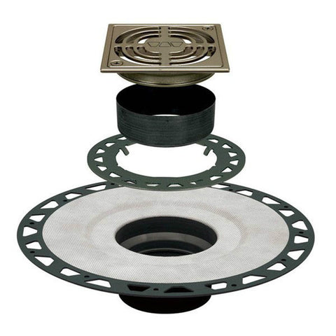 "KERDI-DRAIN Adaptor Kit 4"" Square Brushed Nickel Anodized Aluminum Grate - Extended ABS Flange"