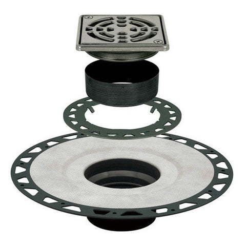 Schluter Kerdi Drain Adaptor Kit 4 Square Stainless Steel Grate - Extended Abs Flange - American Fast Floors