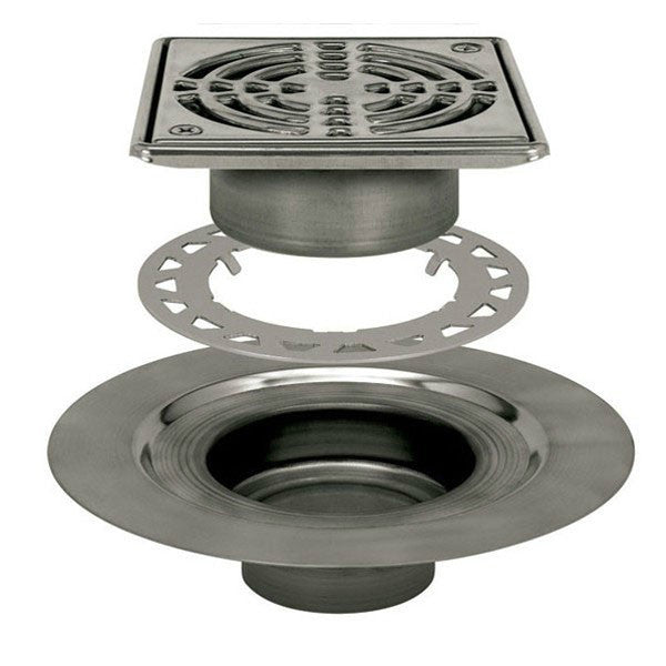 Schluter Kerdi Drain Adaptor Kit 6 Square Stainless Steel Grate - Stainless Steel Flange - American Fast Floors