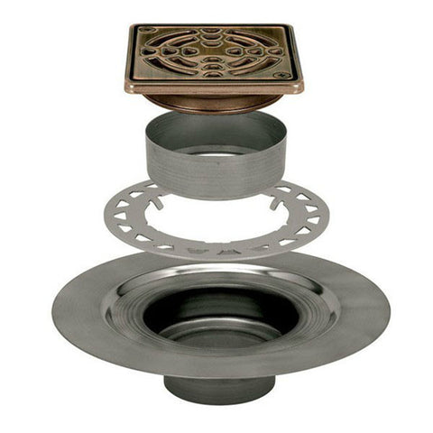 "KERDI-DRAIN Adaptor Kit 4"" Square Oil Rubbed Bronze Steel Grate - Stainless Steel Flange"