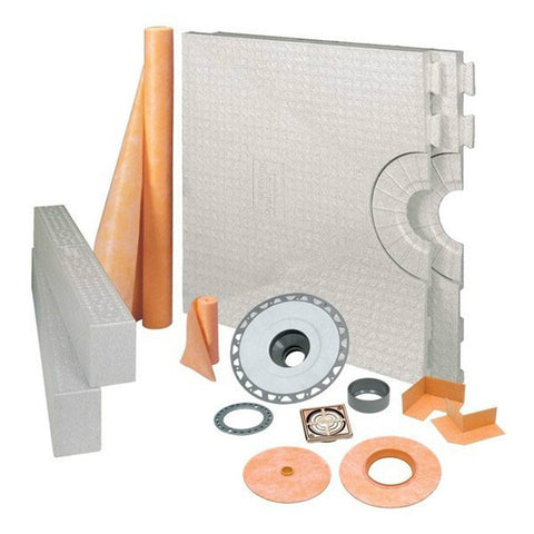 Schluter Kerdi Shower Kit 72 X 72 Center Drain Tray Brushed Bronze Anodized Aluminum - Abs Flange - American Fast Floors