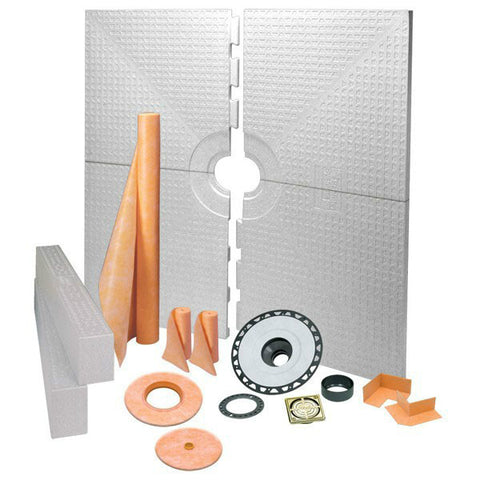"KERDI-SHOWER-KIT 72"" x 72"" Center Drain Tray Brushed Brass Anodized Aluminum - ABS Flange"
