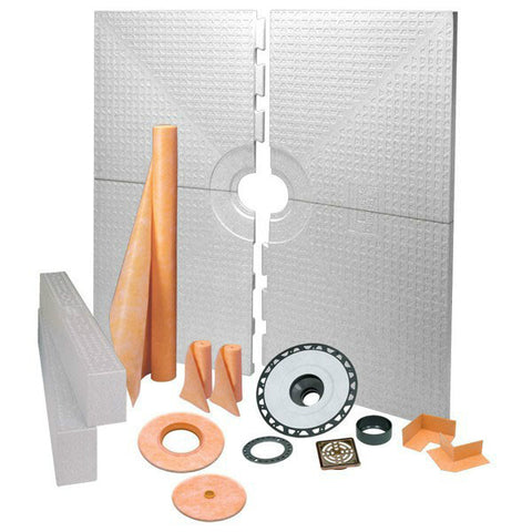 Schluter Kerdi Shower Kit 72 X 72 Center Drain Tray Oil Rubbed Bronze Steel - Abs Flange - American Fast Floors
