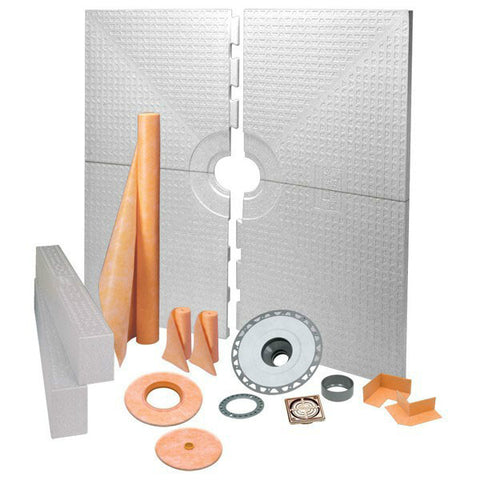 Schluter Kerdi Shower Kit 72 X 72  Center Drain Tray Brushed Bronze Anodized Aluminum - Pvc Flange - American Fast Floors