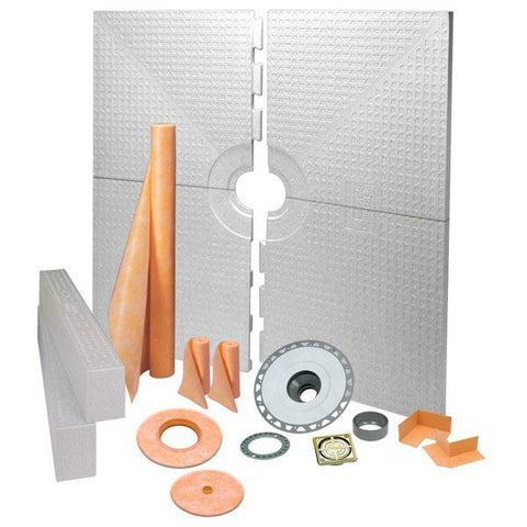 Schluter Kerdi shower kit 72 X 72  Center Drain Tray Brushed Brass Anodized Aluminum - Pvc Flange - American Fast Floors