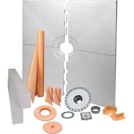 Schluter Kerdi Shower Kit 72 X 72  Center Drain Tray Stainless Steel Pvc Flange - American Fast Floors