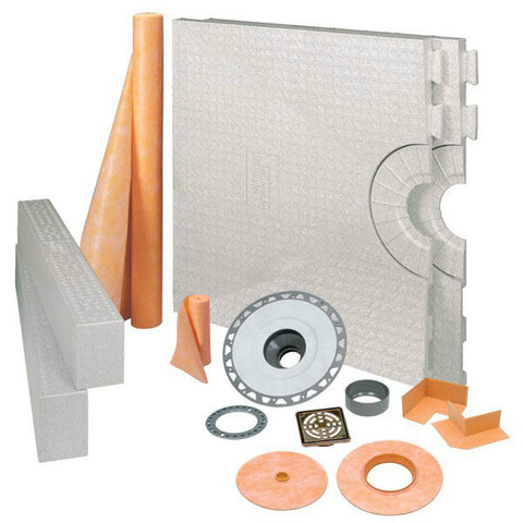 Schluter Kerdi Shower Kit 32 X 60 Center Drain Tray Oil Rubbed Bronze Steel - Pvc Flange - American Fast Floors