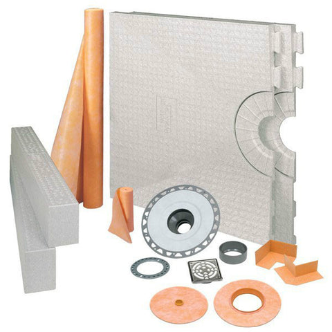 "KERDI-SHOWER-KIT 32"" x 60"" Center Drain Tray Stainless Steel - PVC Flange"