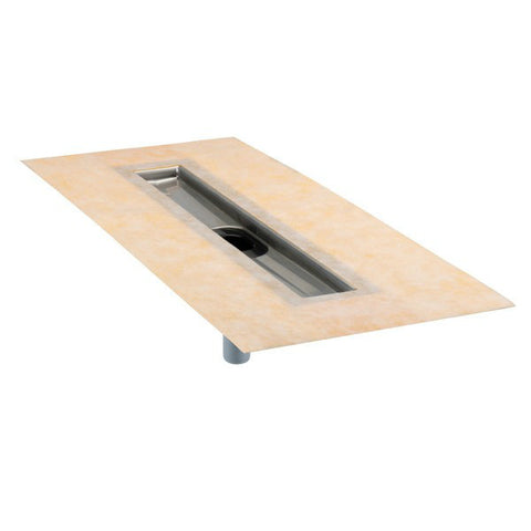 "KERDI-LINE 52"" Bonding Flange Stainless Steel with Centre Drain Outlet"