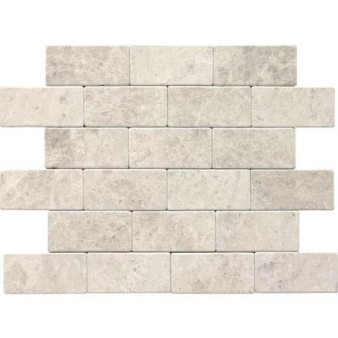 "Daltile Limestone Martinique 3"" x 6"" Arctic Gray Tumbled Field Tile"