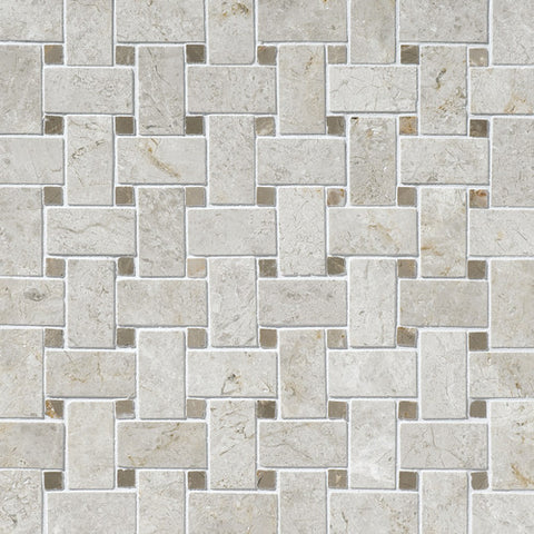 Daltile Limestone Arctic Gray Basketweave Polished Mosaics