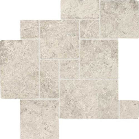 Daltile Limestone Martinique Arctic Gray Mini Versailles Pattern Honed Mosaics
