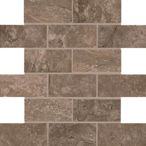 American Olean Laurel Heights Brown Pinnacle 2 x 4 Brick-Joint Mosaic