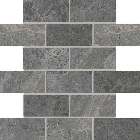 American Olean Laurel Heights Charcoal Crest 2 x 4 Brick-Joint Mosaic - American Fast Floors