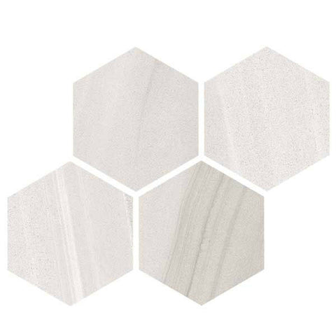 "Legend 12""X12"" Blanco Glazed Hexagon Mosaic - American Fast Floors"