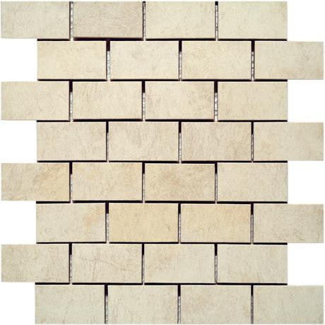 "Marazzi Stone Collection 12""x12"" Ivory Mesh Mounted Brick Mosaic - American Fast Floors"