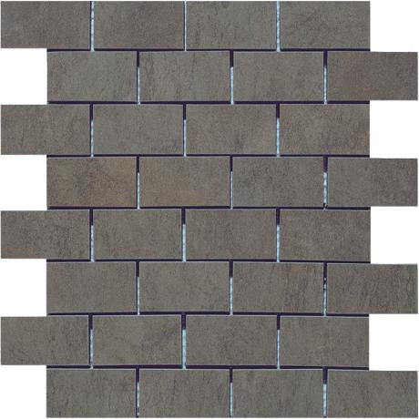 "Marazzi Stone Collection 12""x12"" Anthracite Mesh Mounted Brick Mosaic - American Fast Floors"