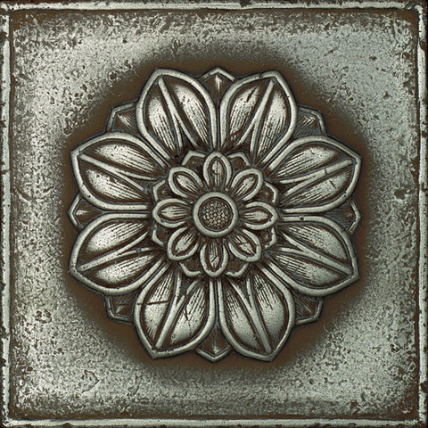 Daltile Metal Signatures 4-1/4 x 4-1/4 Aged Iron Rosette Rounded Deco