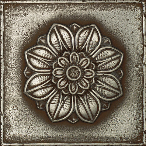 Daltile Metal Signatures 6 x 6 Aged Iron Rosette Pointed Deco
