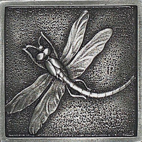 Daltile Massalia 2 x 2 Pewter Dragon Fly Accent
